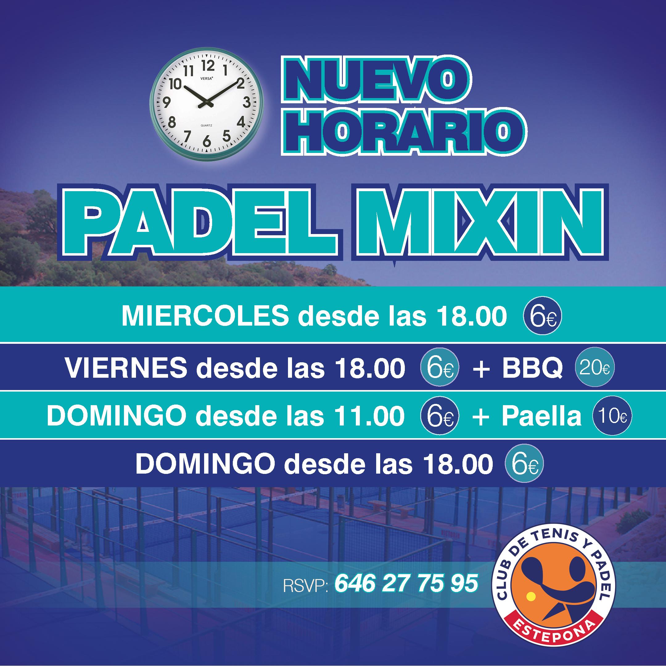 Nuevos Horarios Mixin de Padel