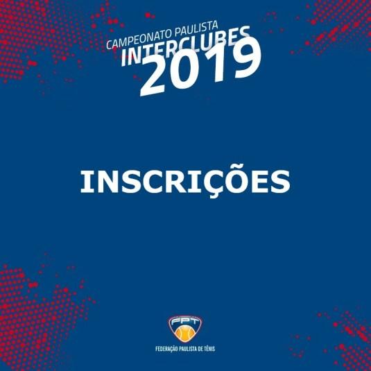 INSCRIÇÕES INTERCLUBES 2019 | 10F, 10M, 60MA, 60MB, DM18F E DF18M