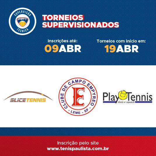 TORNEIOS SUPERVISIONADOS | INSCRIÇÕES ATÉ 09/04