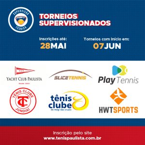 TORNEIOS SUPERVISIONADOS – INSCRIÇÕES ATÉ 28.05
