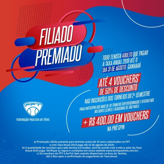 OPORTUNIDADE PARA OS TENISTAS ADULTOS FILIADOS NA FPT