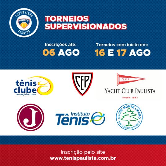 TORNEIOS SUPERVISIONADOS – INSCRIÇÕES ATÉ 06.08