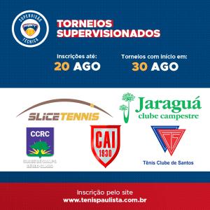 TORNEIOS SUPERVISIONADOS – INSCRIÇÕES ATÉ 20.08