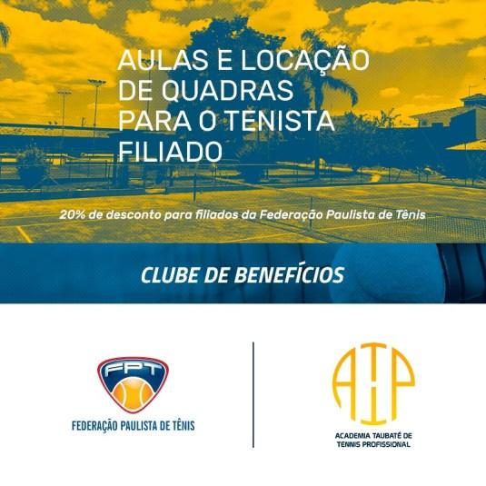 ACADEMIA TAUBATÉ TENNIS PROFISSIONAL – NOVO PARCEIRO DO CLUBE DE BENEFÍCIOS DA FPT