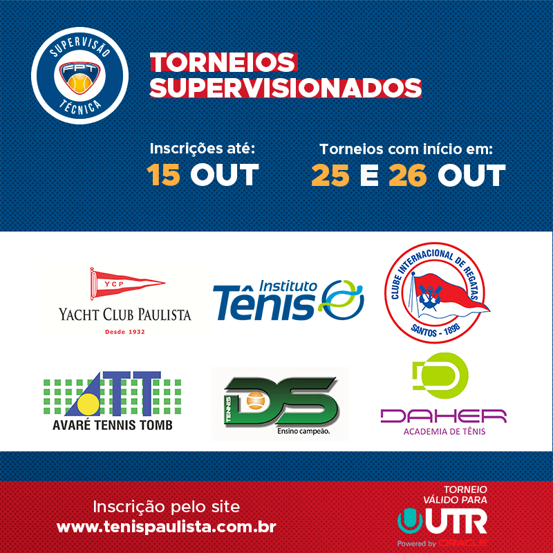 TORNEIOS SUPERVISIONADOS – INSCRIÇÕES ATÉ 15.10