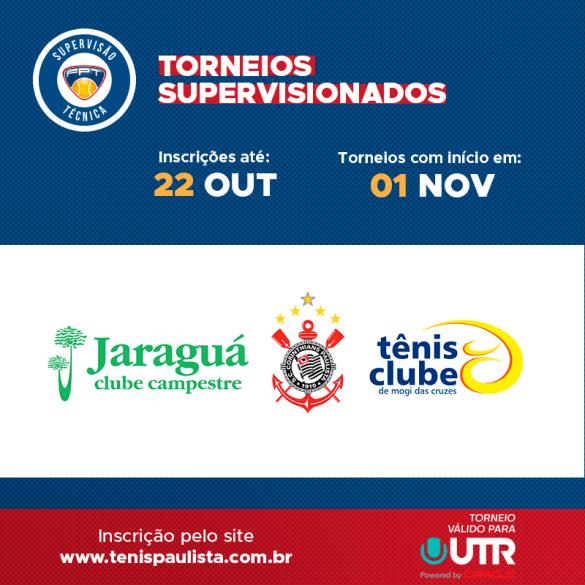 TORNEIOS SUPERVISIONADOS – INSCRIÇÕES ATÉ 22.10
