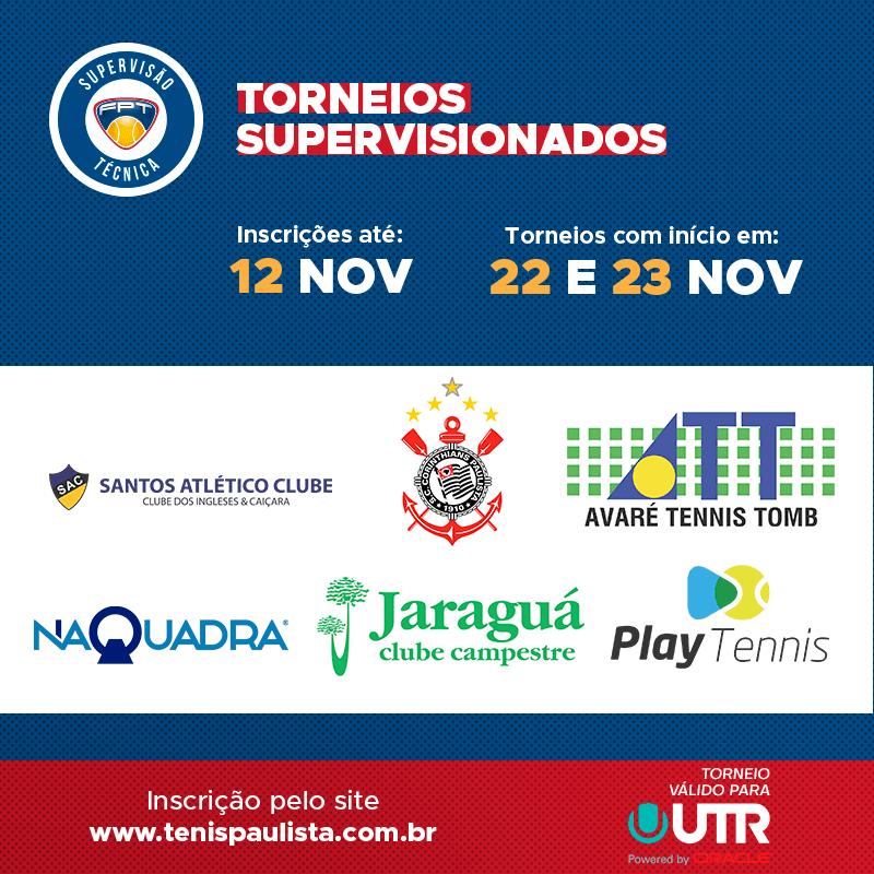 TORNEIOS SUPERVISIONADOS – INSCRIÇÕES ATÉ 12.11