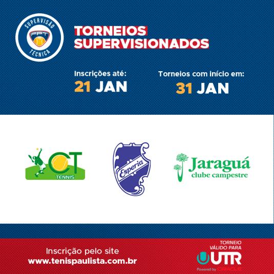 TORNEIOS SUPERVISIONADOS – INSCRIÇÕES ATÉ 21.01