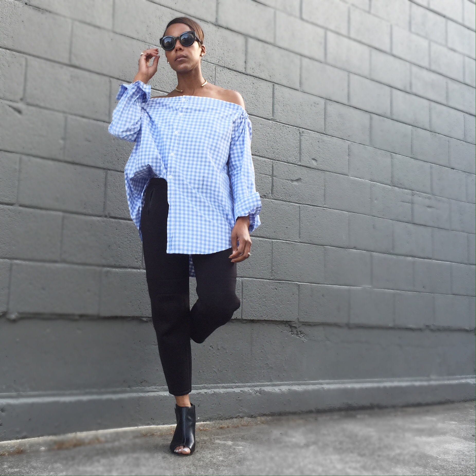 rag and bone inspired off the shoulder blouse