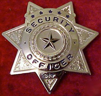 Silver 7 point star security officer badge u.s. made