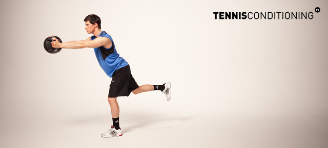 Alternating Single Leg Med Ball Trunk Rotations