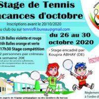 Stage de tennis d'octobre