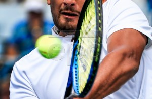 Nick Kyrgios of Australia in action against Juan Martin Del Potro of Argentina in their match in the Western & Southern Open tennis tournament at the Lindner Family Tennis Center in Mason, Ohio, USA, 17 August 2018. EPA-EFE/TANNEN MAURY