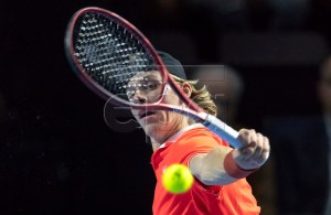 Canada's Denis Shapovalov in action during his first round match against Croatia's Marin Cilic at the Swiss Indoors tennis tournament at the St. Jakobshalle in Basel, Switzerland, 22 October 2018. EPA-EFE/GEORGIOS KEFALAS