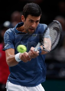 Novak Djokovic of Serbia in action during his second round match against Joao Sousa of Portugal at the Rolex Paris Masters tennis tournament in Paris, France, 30 October 2018.  EPA-EFE/IAN LANGSDON