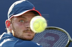 David Goffin of Belgium hits a return to Federico Gaio of Italy on the second day of the US Open Tennis Championships the USTA National Tennis Center in Flushing Meadows, New York, USA, 28 August 2018. The US Open runs from 27 August through 09 September. EPA-EFE/JUSTIN LANE