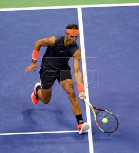Rafael Nadal of Spain hits a return to Dominic Thiem of Austria during the ninth day of the US Open Tennis Championships the USTA National Tennis Center in Flushing Meadows, New York, USA, 04 September 2018. The US Open runs from 27 August through 09 September.  EPA-EFE/BRIAN HIRSCHFELD