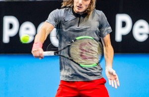 Stefanos Tsitsipas of Greece in action during the men's singles match between Switzerland and Greece on day 6 of the Hopman Cup tennis tournament at RAC Arena in Perth, Australia, 03 January 2019. EPA-EFE/TONY MCDONOUGH AUSTRALIA AND NEW ZEALAND OUT EDITORIAL USE ONLY