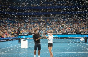 Roger Federer (L) and Belinda Bencic of Switzerland hold up the Hopman Cup after their win in the mixed doubles match between Switzerland and Germany on day 8 of the Hopman Cup tennis tournament at RAC Arena in Perth, Australia, 05 January 2019. EPA-EFE/TONY MCDONOUGH AUSTRALIA AND NEW ZEALAND OUT EDITORIAL USE ONLY
