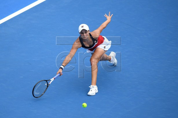 Ashleigh Barty of Australia in action against Kiki Bertens of the Netherlands during their semi final match at the Sydney International tennis tournament at Sydney Olympic Park Tennis Centre in Sydney, Australia, 11 January 2019.  EPA-EFE/DAN HIMBRECHTS AUSTRALIA AND NEW ZEALAND OUT