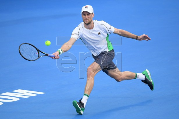 Andreas Seppi of Italy in action against Diego Schwartzman of Argentina during the Sydney International tennis tournament at Sydney Olympic Park Tennis Centre in Sydney, Australia, 11 January 2019.  EPA-EFE/DAN HIMBRECHTS EDITORIAL USE ONLY AUSTRALIA AND NEW ZEALAND OUT