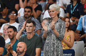 Judy Murray (C-R), mother of Britain's Andy Murray, and his brother Jamie Murray (C-L) attend the first round match between Roberto Bautista Agut of Spain and Murray at the Australian Open tennis tournament in Melbourne, Australia, 14 January 2019. EPA-EFE/JULIAN SMITH AUSTRALIA AND NEW ZEALAND OUT