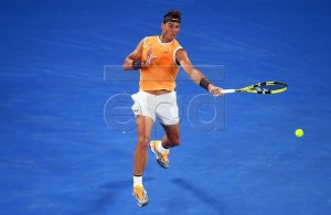 Rafael Nadal of Spain in action against Matthew Ebden of Australia during their men's second round match at the Australian Open tennis tournament in Melbourne, Australia, 16 January 2019. EPA-EFE/LUKAS COCH AUSTRALIA AND NEW ZEALAND OUT