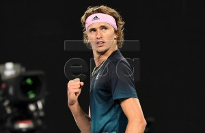 Alexander Zverev of Germany reacts during his round three men's singles match against Alex Bolt of Australia at the Australian Open Grand Slam tennis tournament in Melbourne, Australia, 19 January 2019. EPA-EFE/JULIAN SMITH AUSTRALIA AND NEW ZEALAND OUT