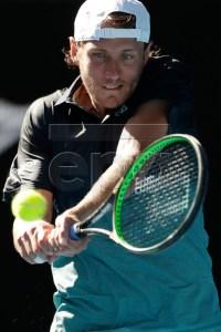 Lucas Pouille of France in action against Milos Raonic of Canada during their men's singles quarterfinals match at the Australian Open Grand Slam tennis tournament in Melbourne, Australia, 23 January 2019.  EPA-EFE/LYNN BO BO