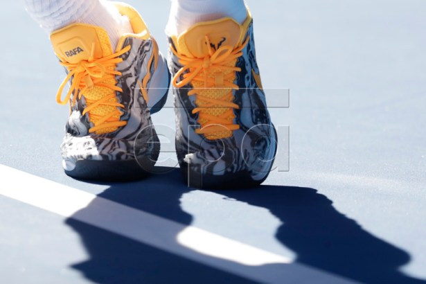 Closeup of shoes belonging to Rafael Nadal of Spain in action during his round four men's singles match against Tomas Berdych of Czech Republic at the Australian Open Grand Slam tennis tournament in Melbourne, Australia, 20 January 2019.  EPA-EFE/MAST IRHAM