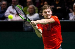 Belgium's David Goffin reacts during his first round match against Gael Monfils of France at the ABN AMRO World Tennis Tournament in Rotterdam, Netherlands, 12 February 2019. EPA-EFE/REMKO DE WAAL