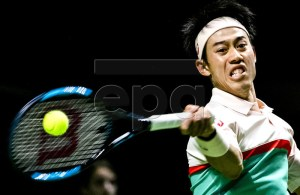 Kei Nishikori of Japan in action during his first round match against Pierre-Hugues Herbert of France at the ABN AMRO World Tennis Tournament in Rotterdam, Netherlands, 12 February 2019. EPA-EFE/REMKO DE WAAL