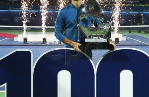 Roger Federer of Switzerland poses with his trophy after defeating Stefanos Tsitsipas of Greece in their final match at the Dubai Duty Free Tennis ATP Championships 2019 in Dubai, United Arab Emirates, 02 March 2019. EPA-EFE/ALI HAIDER