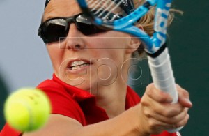 Kristen Flipkens of Belgium in action against Danielle Collins of United States during the BNP Paribas Open tennis tournament at the Indian Wells Tennis Garden in Indian Wells, California, USA, 09 March 2019. The men's and women's final will be played on 17 March 2019. EPA-EFE/LARRY W. SMITH