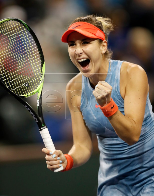 Belinda Bencic of Switzerland reacts after defeating the number one Naomi Osaka of Japan during the BNP Paribas Open tennis tournament at the Indian Wells Tennis Garden in Indian Wells, California, USA, 12 March 2019. The men's and women's final will be played, 17 March 2019. EPA-EFE/JOHN G. MABANGLO