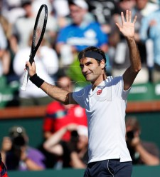 Roger Federer of Switzerland acknowledges the crowd after defeating Kyle Edmund of Great Britain during the BNP Paribas Open tennis tournament at the Indian Wells Tennis Garden in Indian Wells, California, USA, 13 March 2019. The men's and women's final will be played, 17 March 2019.  EPA-EFE/JOHN G. MABANGLO
