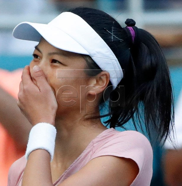 Hsieh Su-wei of Taiwan reacts after defeating Naomi Osaka of the Japan at the Miami Open tennis tournament in Miami, Florida, USA, 23 March 2019.  EPA-EFE/JASON SZENES