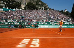 Rafael Nadal of Spain in action during his semifinal match against Grigor Dimitrov of Bulgaria at the Monte-Carlo Rolex Masters tournament in Roquebrune Cap Martin, France, 21 April 2018. EPA-EFE/SEBASTIEN NOGIER