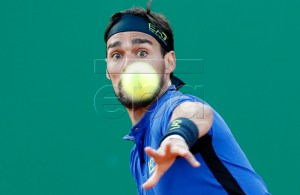 Fabio Fognini of Italy returns the ball to Borna Coric of Croatia during their quarter final match at the Monte-Carlo Rolex Masters tournament in Roquebrune Cap Martin, France, 19 April 2018.