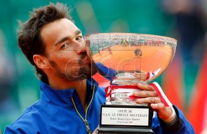 Fabio Fognini of Italy poses with his trophy after winning against Dusan Lajovic of Serbia in their final match of the Monte-Carlo Rolex Masters tournament in Roquebrune Cap Martin, France, 21 April 2019. EPA-EFE/SEBASTIEN NOGIER