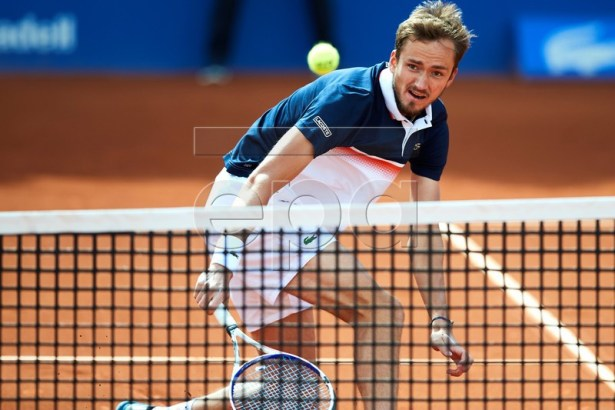 Russian tennis player Daniil Medvedev returns the ball against Spanish Albert Ramos during their second round men's single match of the 67th Barcelona Open Trofeo Conde de Godo tennis tournament in Barcelona, Spain, 24 April 2019. EPA-EFE/Alejandro Garcia