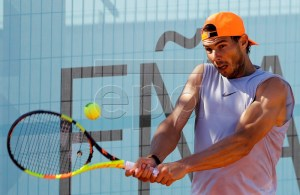 Spanish tennis player Rafa Nadal attends a training session ahead the Mutua Madrid Open 2019 in Madrid, Spain, 03 May 2019. The Mutua Madrid Open 2019 will be held from 03 to 12 May 2019. EPA-EFE/Chema Moya