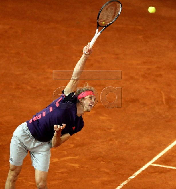 Germany's Alexander Zverev in action during his match against Spain's David Ferrer at the Mutua Madrid Open tennis tournament, in Madrid, Spain, 08 May 2019.  EPA-EFE/KIKO HUESCA