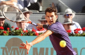 Austria's Dominic Thiem in action during his quarter final match against Switzerland's Roger Federer at the Mutua Madrid Open tennis tournament in Madrid, Spain, 10 May 2019. EPA-EFE/KIKO HUESCA