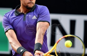 Jo-Wilfried Tsonga of France in action during his men's singles first round match against Fabio Fognini of Italy at the Italian Open tennis tournament in Rome, Italy, 13 May 2019. EPA-EFE/ETTORE FERRARI