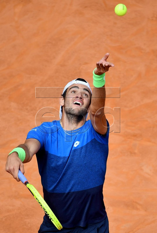 Matteo Berrettini of Italy in action during his men's singles second round match against Alexander Zverev of Germany at the Italian Open tennis tournament in Rome, Italy, 14 May 2019.  EPA-EFE/ETTORE FERRARI