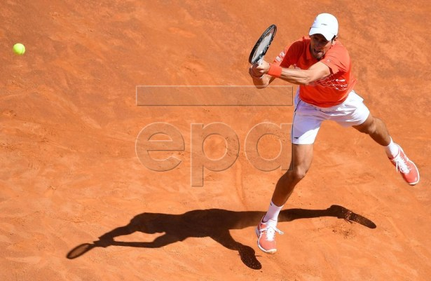 Novak Djokovic of Serbia in action during his men's singles second round match against Denis Shapovalov of Canada at the Italian Open tennis tournament in Rome, Italy, 16 May 2019.  EPA-EFE/ETTORE FERRARI