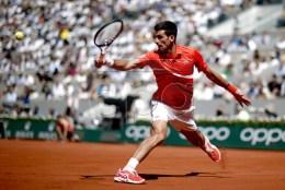 Novak Djokovic of Serbia plays Alexander Zverev of Germany during their men?s quarter final match during the French Open tennis tournament at Roland Garros in Paris, France, 06 June 2019. EPA-EFE/YOAN VALAT