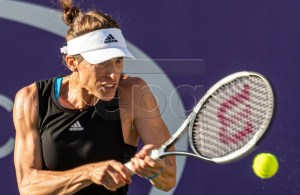 German Andrea Petkovic returns the ball during her WTA Mallorca Open round 32 match against Belgian Elise Mertens at Santa Ponsa's Club in Mallorca, Balearic Islands, Spain, 17 June 2019. EPA-EFE/CATI CLADERA