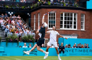 Britain's Andy Murray (L) and Feliciano Lopez (R) of Spain in action during their doubles quarter final match against Britain's Dan Evans and Ken Skupski at the Fever Tree Championship at Queen's Club in London, Britain, 21 June 2019. EPA-EFE/WILL OLIVER